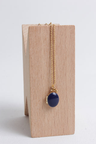 Tiny Locket Necklace - Navy