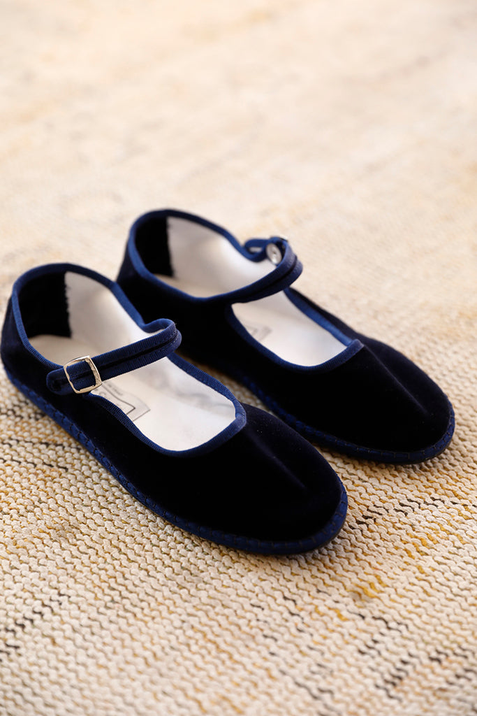Velvet Mary Jane Slippers - Navy