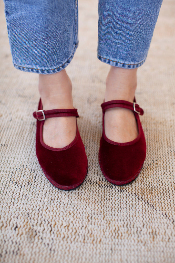 Velvet Mary Jane Slippers - Burgundy