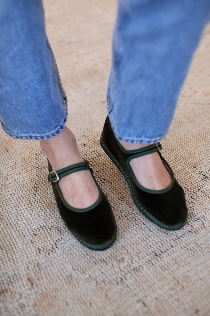 Velvet Mary Jane Slippers - Olive