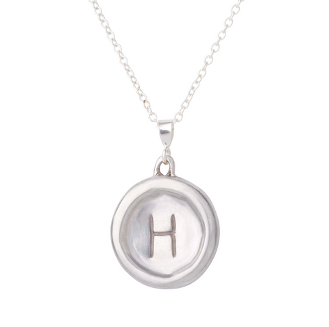 Your Initial Necklace - Letters H and M - Solid Sterling Silver