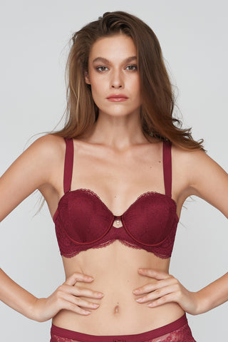 Doris 1/2 Mold Bra Red wine