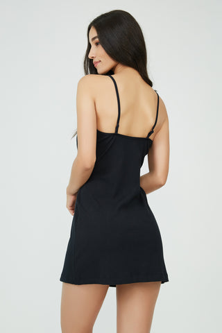 Downtown Gangster Slip Dress Black
