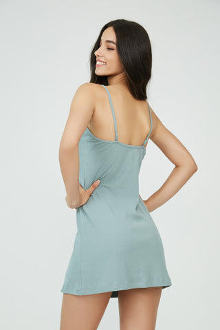 Downtown Gangster Slip Dress Green