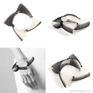 Art Jewelry and me...  # 5 , Black and White Bracelet , looking for a name  ....