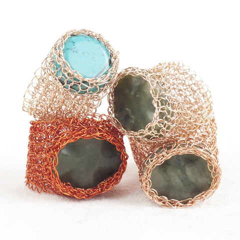 4 wire crochet green rings