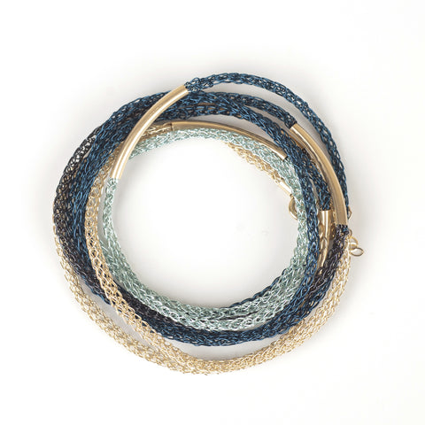 Blue and gold Layering bracelet