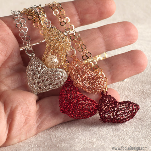 Heart pendant wire crochet jewelry