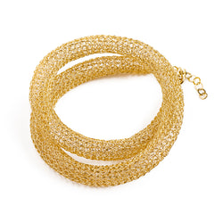 gold wire crochet necklace