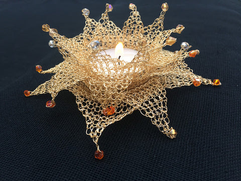 wire crochet tea light holder