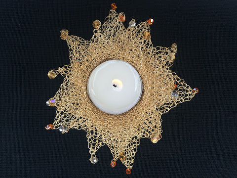 wire crocheted tea light holder