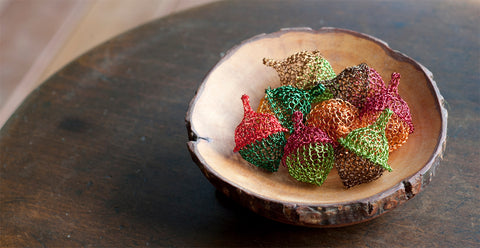 Wire Crochet home accent acorn