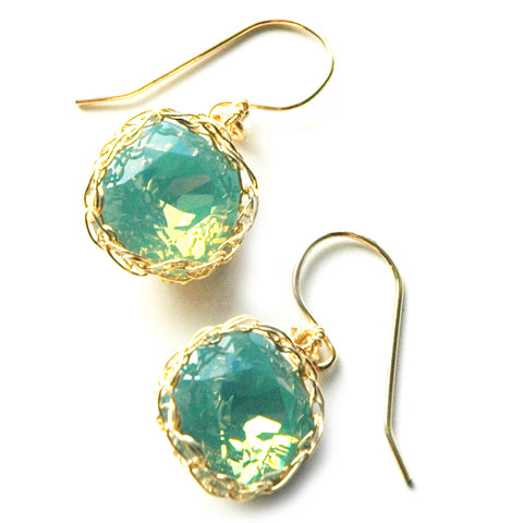 Wire Crochet Earrings Ocean Green Crystal