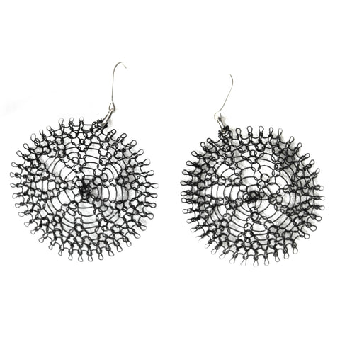 black flower wire crochet earrings by YoolaDesign