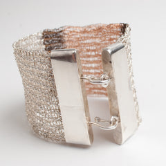 Wire crochet cuff bracelet with silver clasp