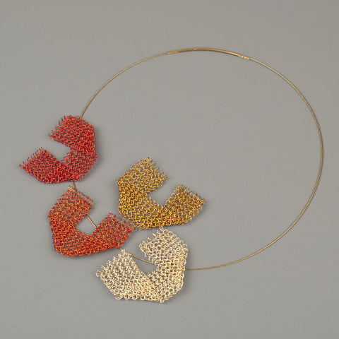 Keep it simple - a new geometric wire crochet necklace - Autumn shades - Yooladesign