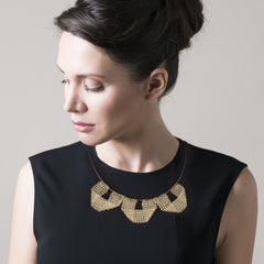 Keep it simple - a new geometric wire crochet necklace - gold - Yooladesign