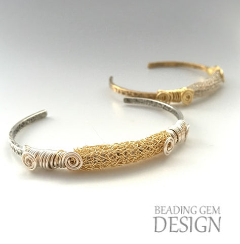 Wire wrapped gold bracelet