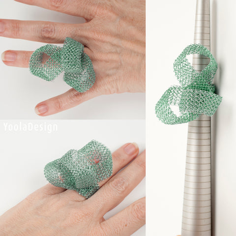 statement ring - green giant ribbon ring