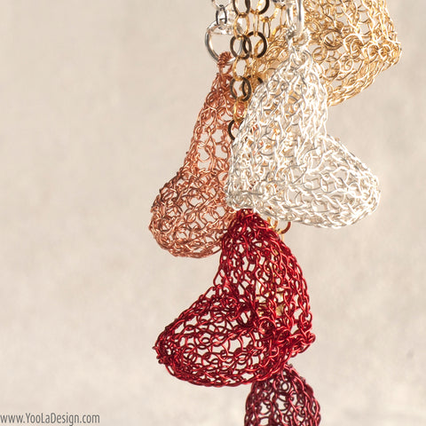 Valentine wire crochet jewelry red passion heart