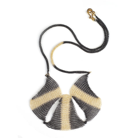 Wire crochet statement necklace black and gold - Yooladesign