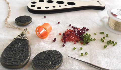 Polymer Clay and wire crochet materials
