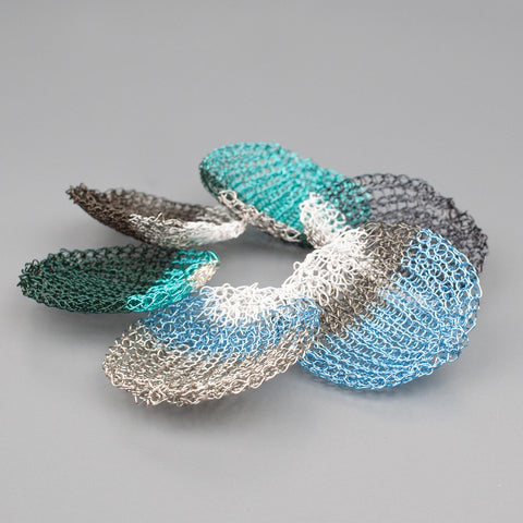 wire crochet petals in blue