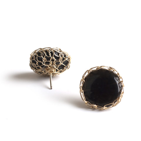 black wire crochet onyx earrings by YoolaDesign