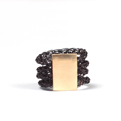 black wire crochet ring by YoolaDesign