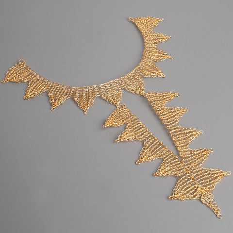 majestic wire crochet gold necklace - YoolaDesign