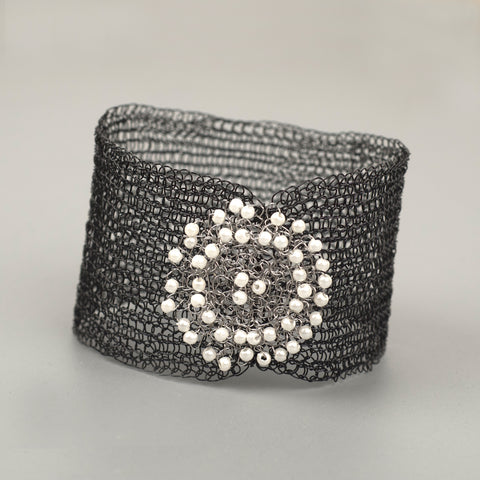 black wire crochet bracelet by YoolaDesign