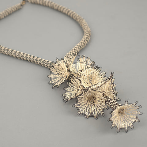wire crochet floral necklace