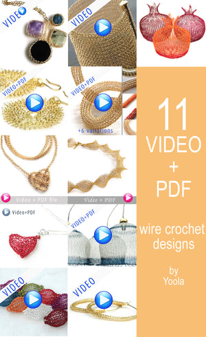 Extended Wire Crochet patterns combination - VIDEO plus PDF patterns - step by step - Instant digital download -  jewelry instructions - Yooladesign