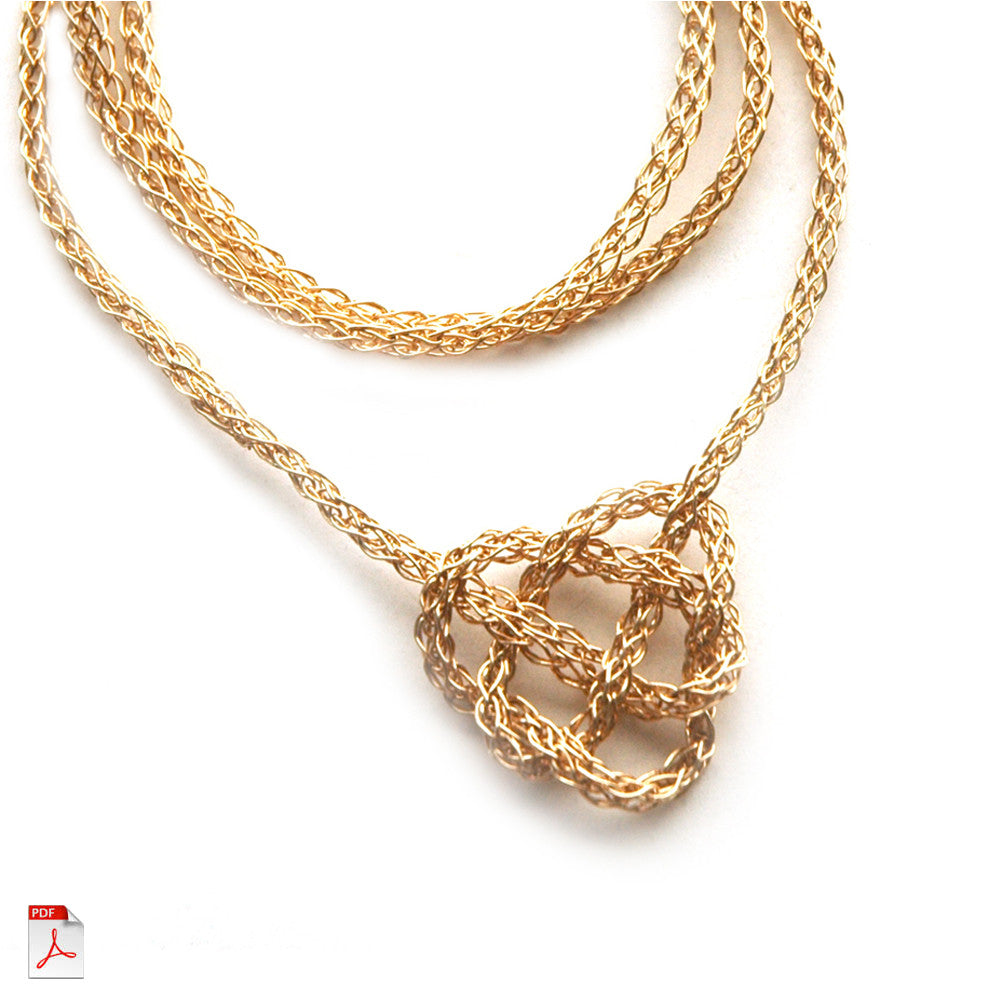 Wire Crochet Necklace - Celtic Heart Knot Necklace, a wire crochet PDF tutorial by Yoola - Yooladesign