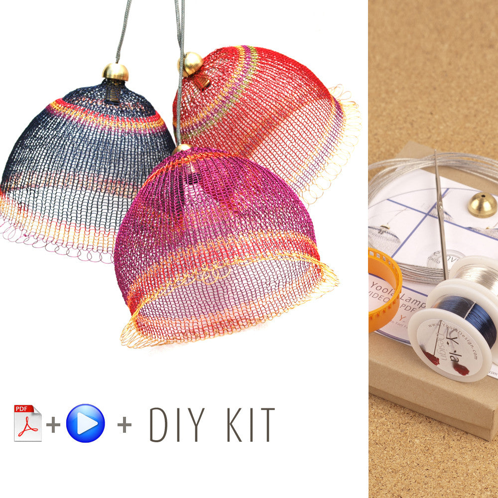 Crochet with wires kits yooladesign wire crochet lampshades kit video tutorial supply and tools yooladesign greentooth Image collections