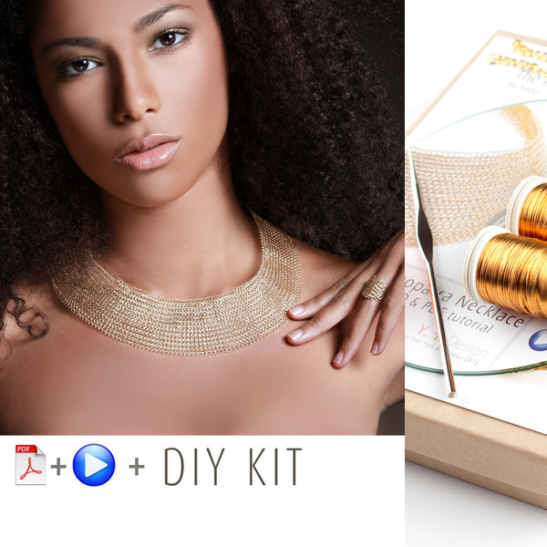 Cleopatra necklace kit , supply and tools for making in wire crochet the Cleopatra  necklace - Yooladesign