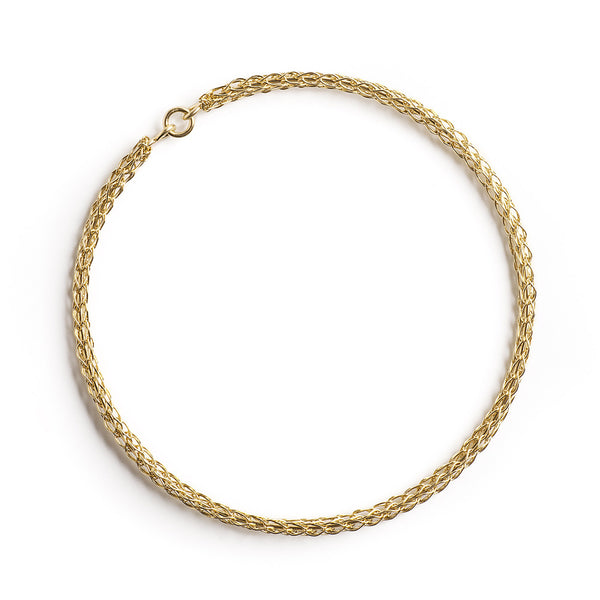 Gold bangle bracelet , wire crocheted bangle - Yooladesign