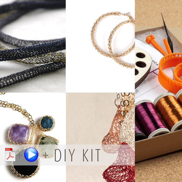 Yoola TOPAZ wire crochet jewelry making DIY gift Kit - Wire Crochet Tutorials and Supplies - crocheted cabochon , Hoop earrings , Tube necklace and puffy Heart - Yooladesign