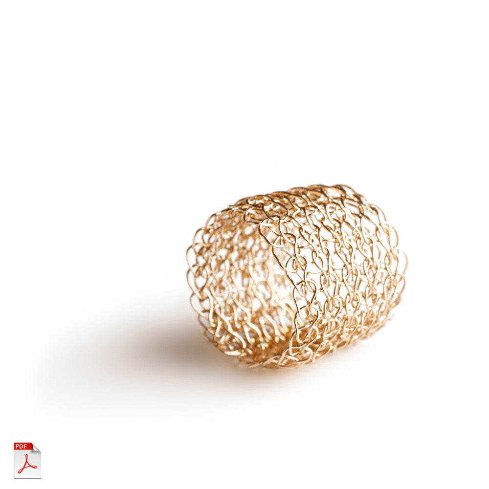 Wire crochet band ring PDF pattern - learn how to crochet a gold ring ebook - Yooladesign