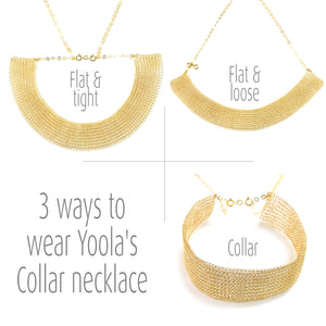 U , short Wire crochet collar necklace in gold filed - Yooladesign