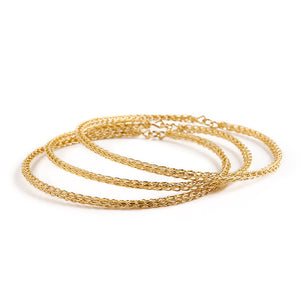 3 gold Bangle Bracelets  , wire crocheted - Yooladesign