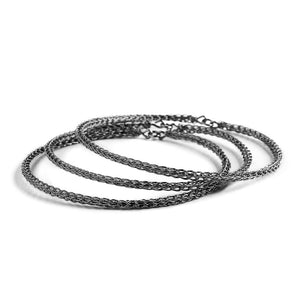 Urban Fashion, Three Oxidized Silver Bangles Bracelet , handmade wire crochet jewelry , silver trio - Yooladesign