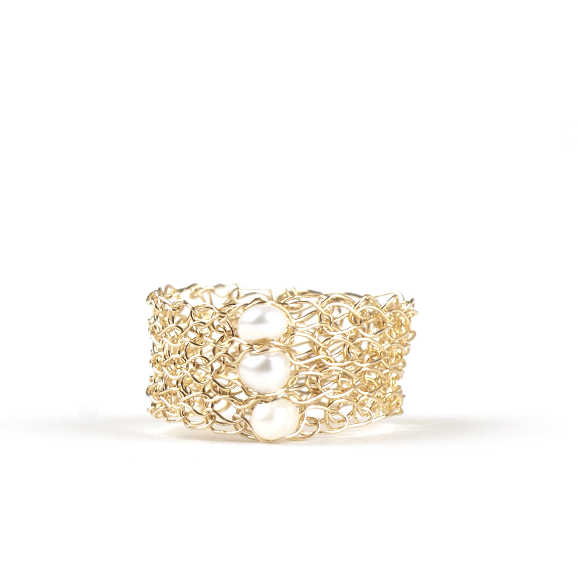 Pearl Ring design in gold , Wire Crochet pearl Jewelry - Yooladesign