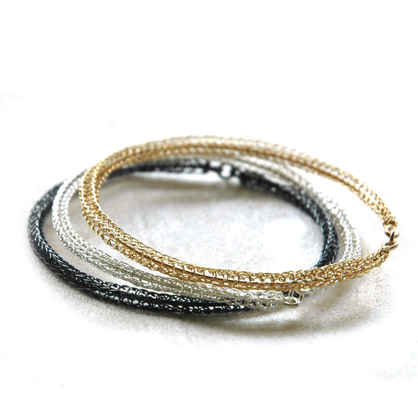 3 Bangle Bracelets combo , gold, silver and gray silver - Yooladesign