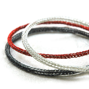 Classy Trio Bangle Bracelets combo , silver , gray silver and red - Yooladesign