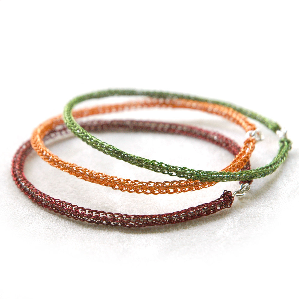 Color Bangles Trio - wire crochet jewelry , handmade funky bangles ,Marsala , fall colors - Yooladesign