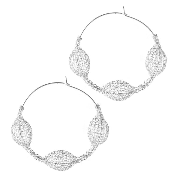 Silver Giant Three Pods Hoop Earrings Unique Fashion - Yooladesign