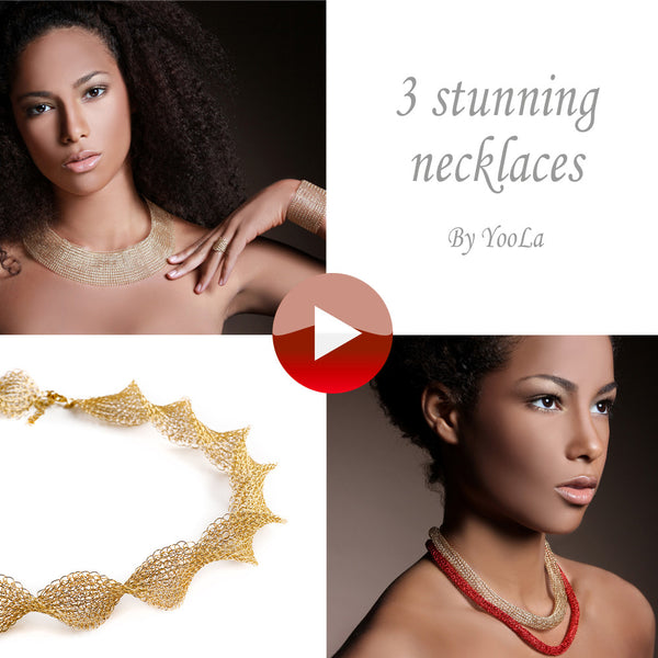 3 Stunning necklaces patterns combo, 3 Wire crochet VIDEO and PDF Patterns - Yooladesign