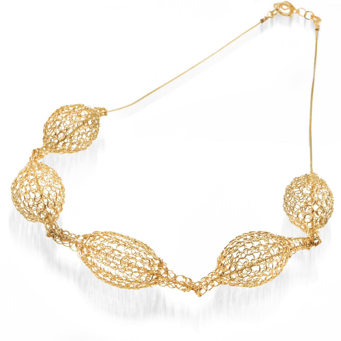 5 Crocheted gold filled organic pod necklace , unique handmade wire crochet jewelry - Yooladesign