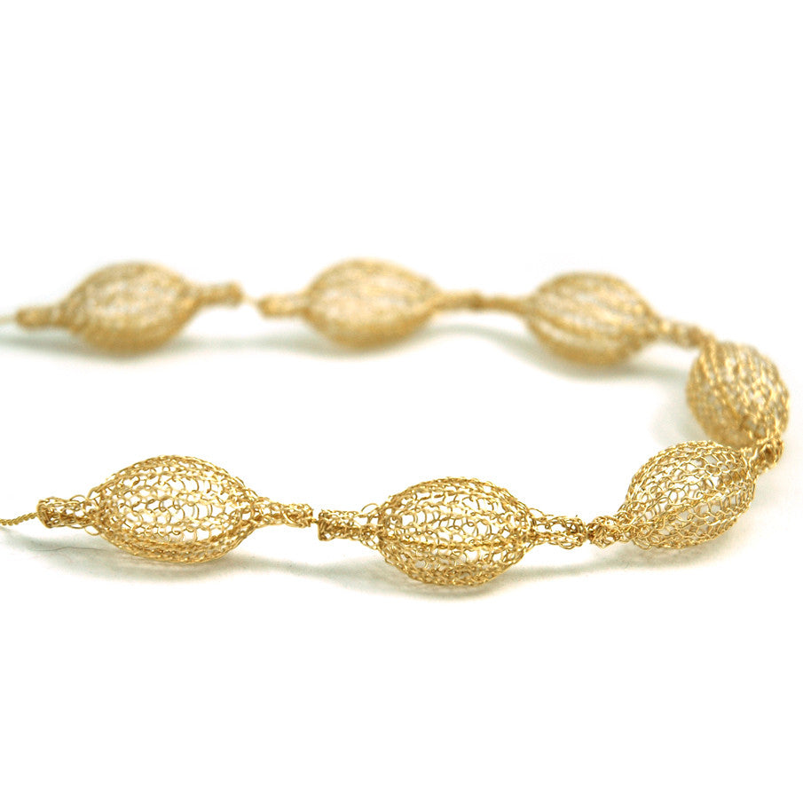 7 Crocheted gold filled organic pod necklace , unique handmade wire ...